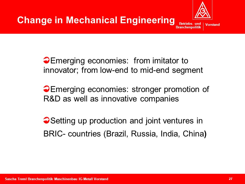 Change in Mechanical Engineering