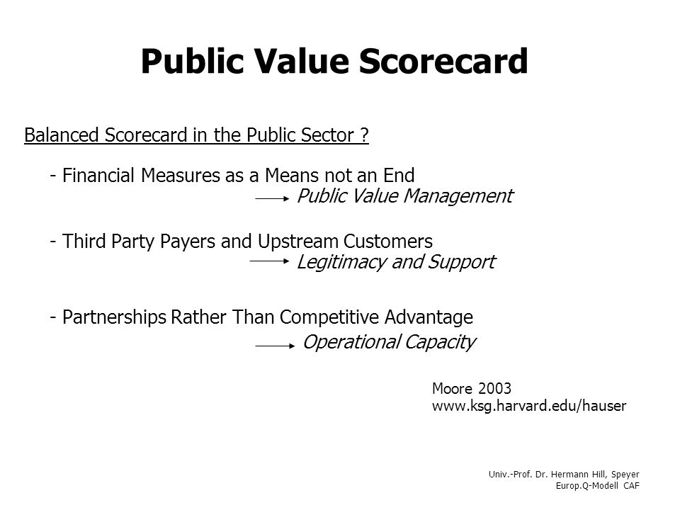 Public Value Scorecard