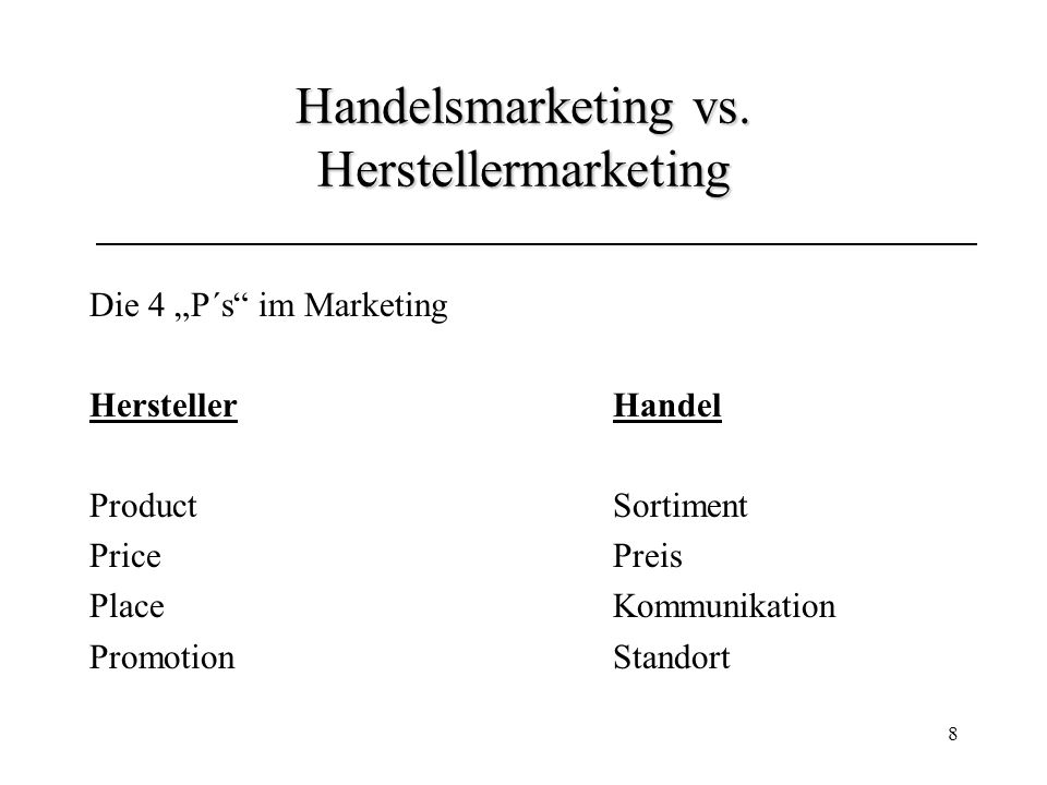 Handelsmarketing vs. Herstellermarketing