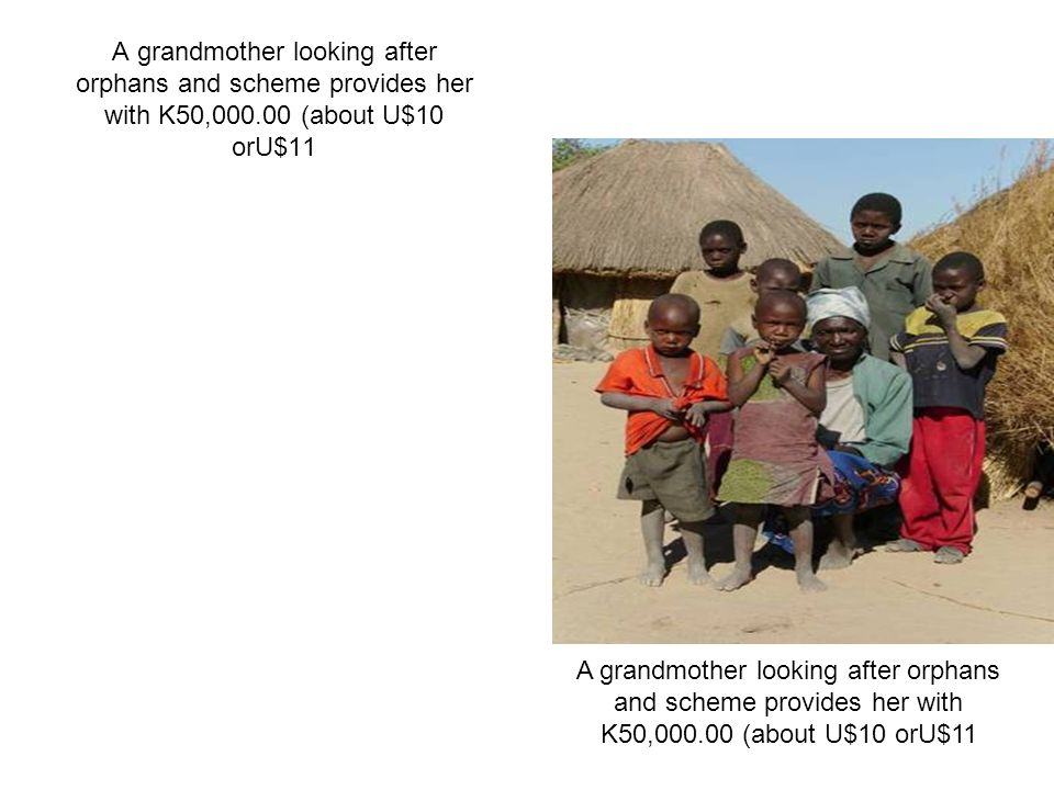 A grandmother looking after orphans and scheme provides her with K50, (about U$10 orU$11