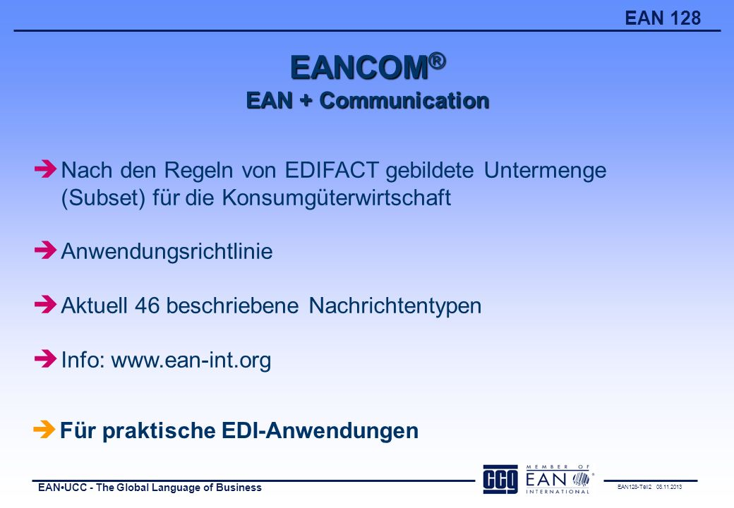 EANCOM® EAN + Communication