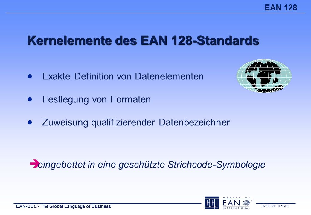 Kernelemente des EAN 128-Standards