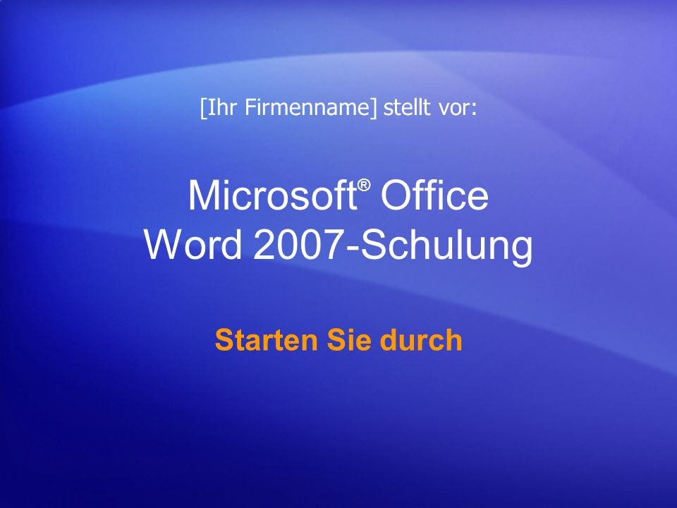 Microsoft® Office Word 2007-Schulung