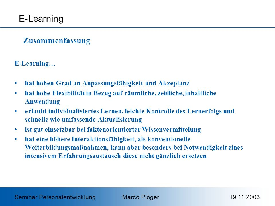 E-Learning Zusammenfassung E-Learning…