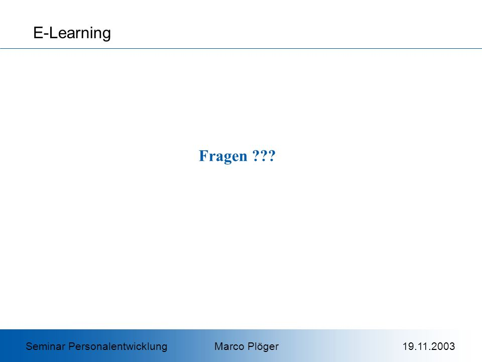 E-Learning Fragen .