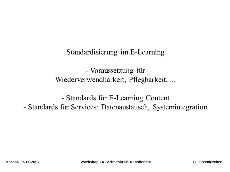 Standardisierung im E-Learning