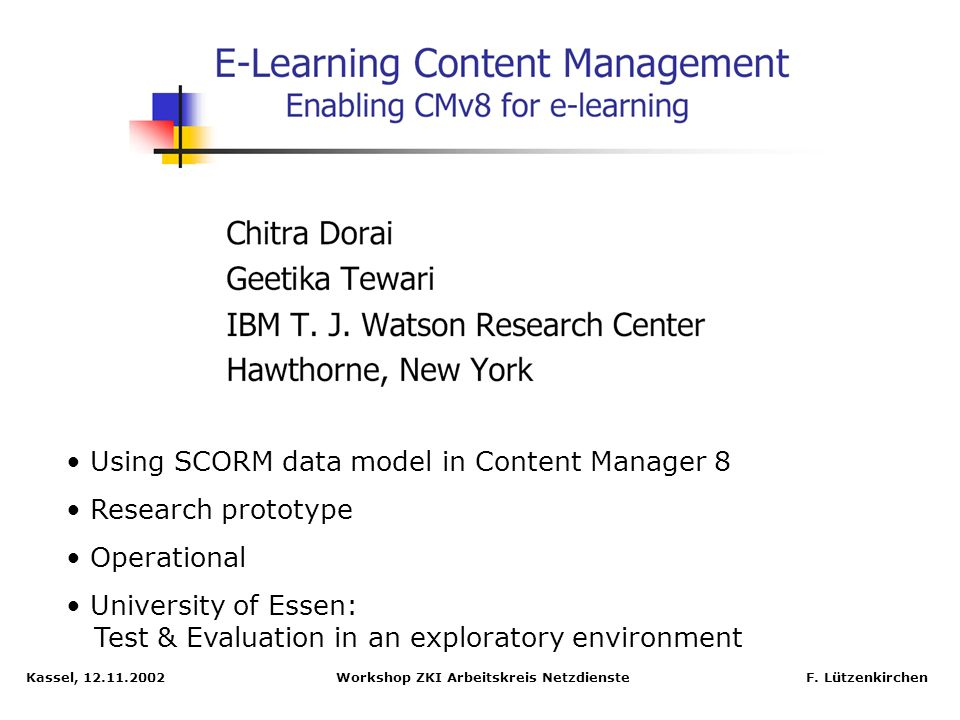 Using SCORM data model in Content Manager 8 Research prototype