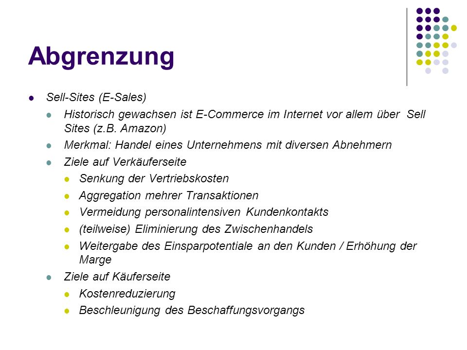 Abgrenzung Sell-Sites (E-Sales)
