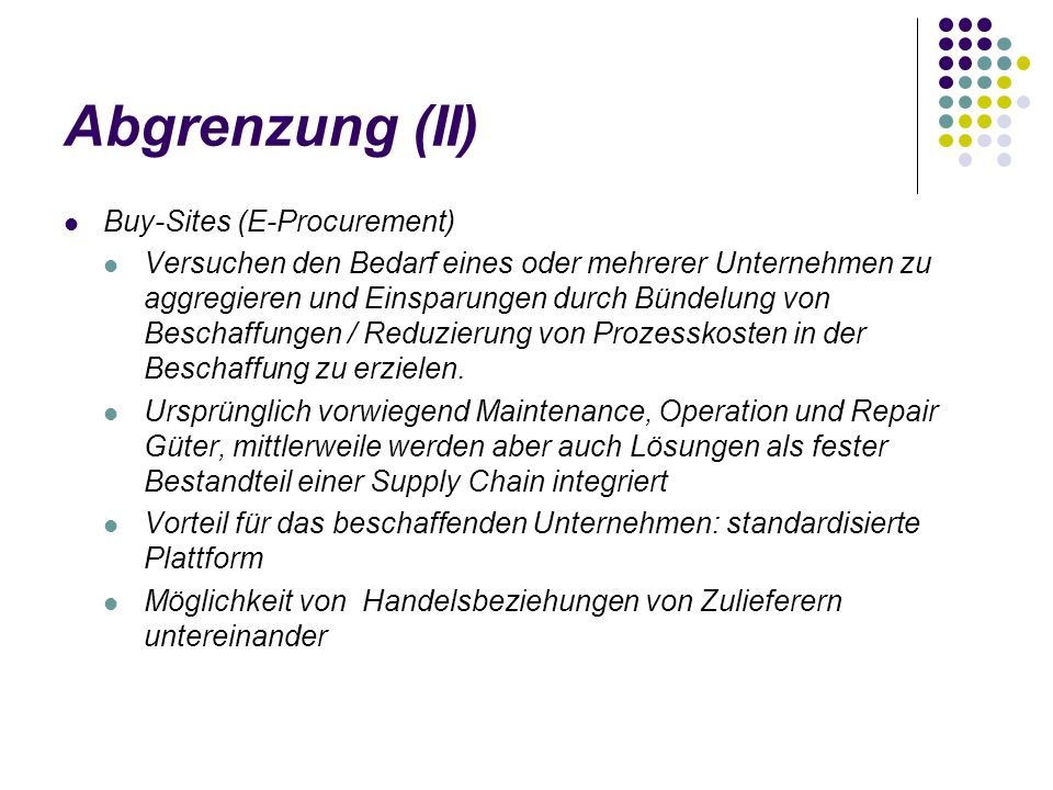 Abgrenzung (II) Buy-Sites (E-Procurement)