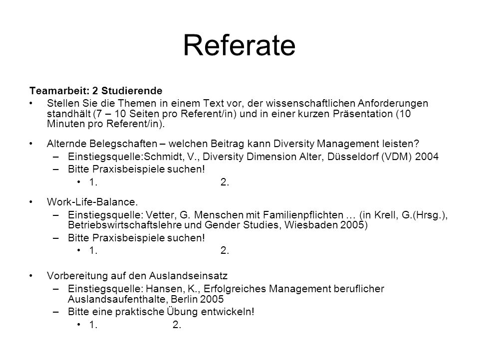 Referate Teamarbeit: 2 Studierende