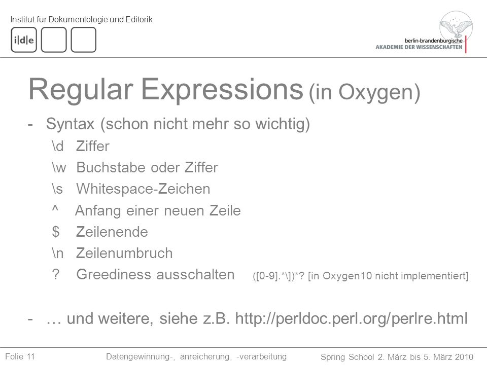 Regular Expressions (in Oxygen)
