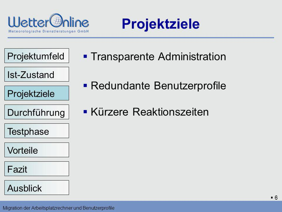 Projektziele Transparente Administration Redundante Benutzerprofile