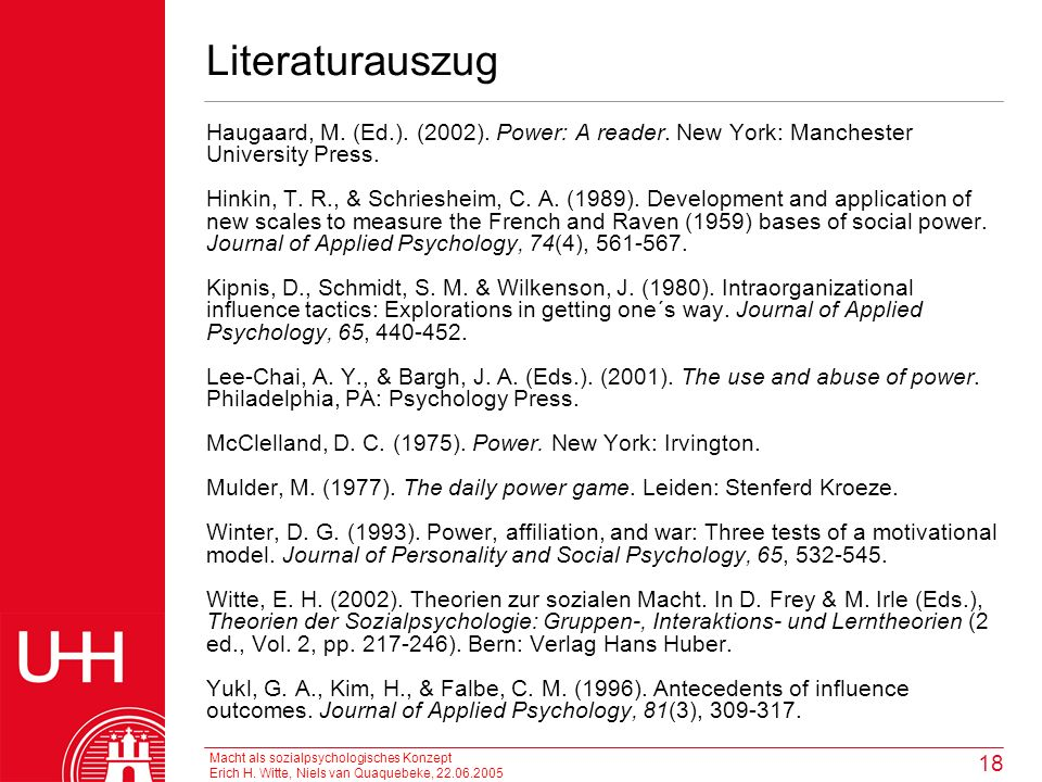 Literaturauszug Haugaard, M. (Ed.). (2002). Power: A reader. New York: Manchester University Press.