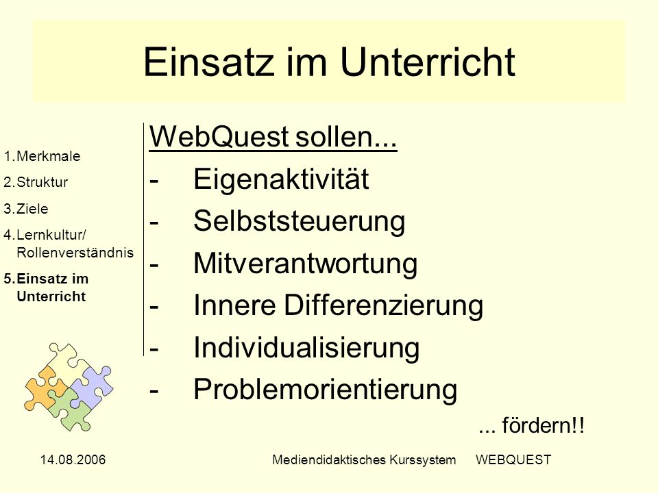 Mediendidaktisches Kurssystem WEBQUEST