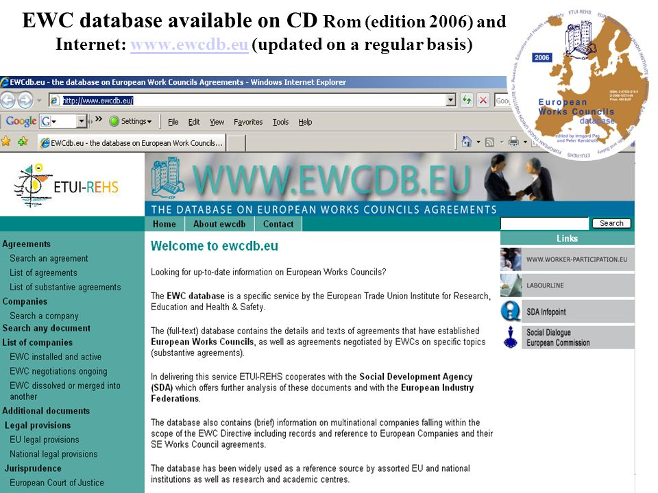 EWC database available on CD Rom (edition 2006) and Internet: www