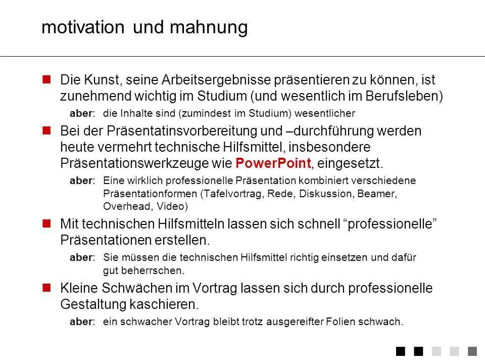 motivation und mahnung