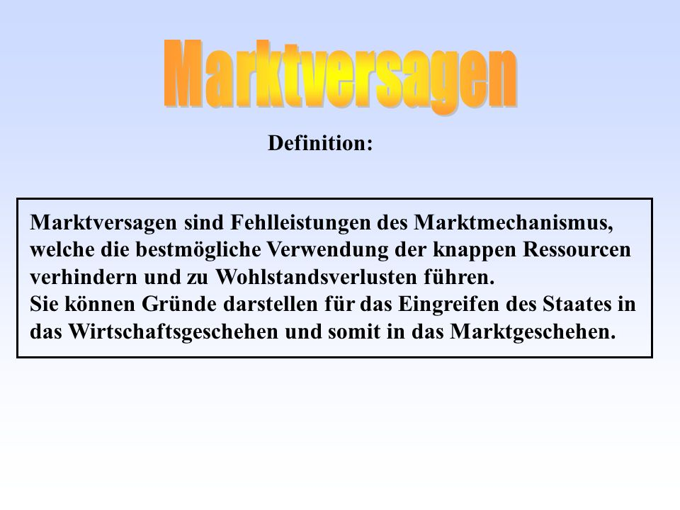 Marktversagen Definition: