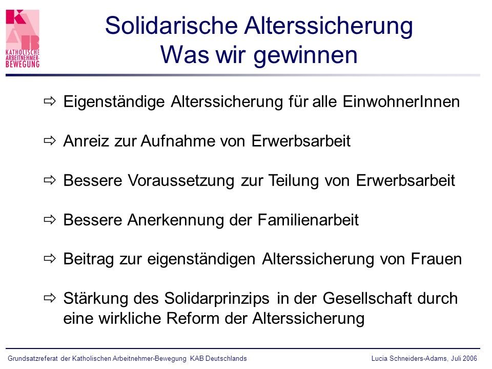 Solidarische Alterssicherung