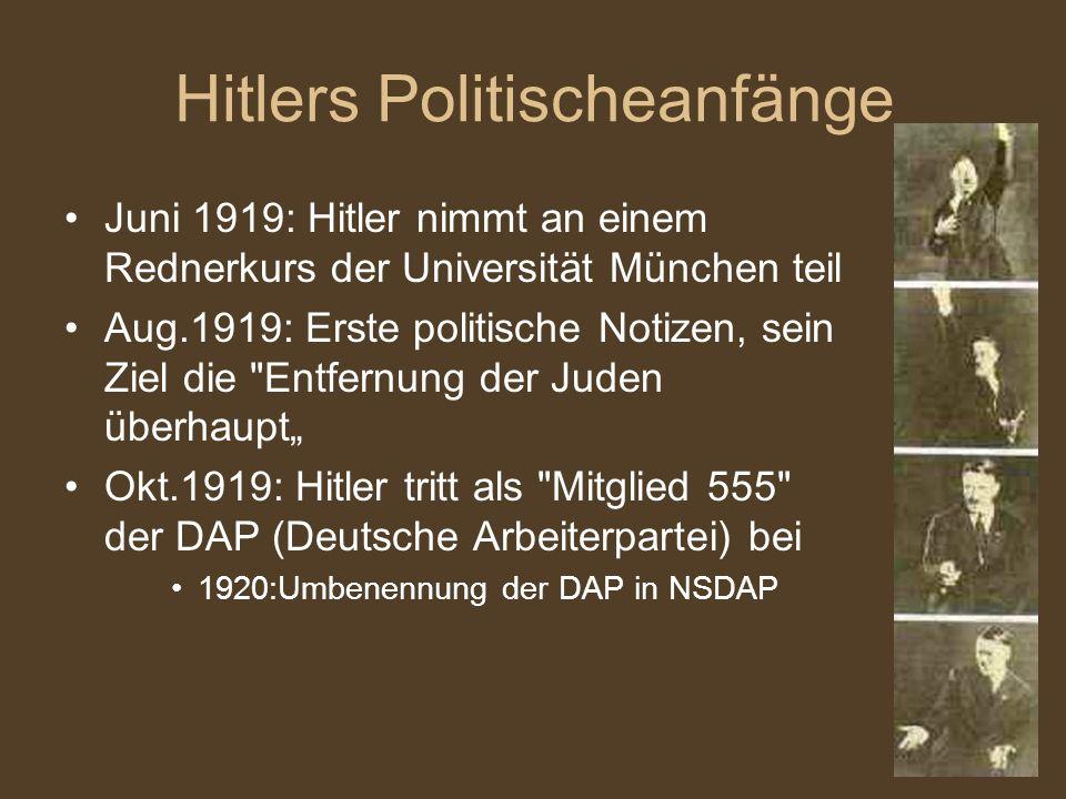hitlers politischeanfnge - Hitlers Lebenslauf