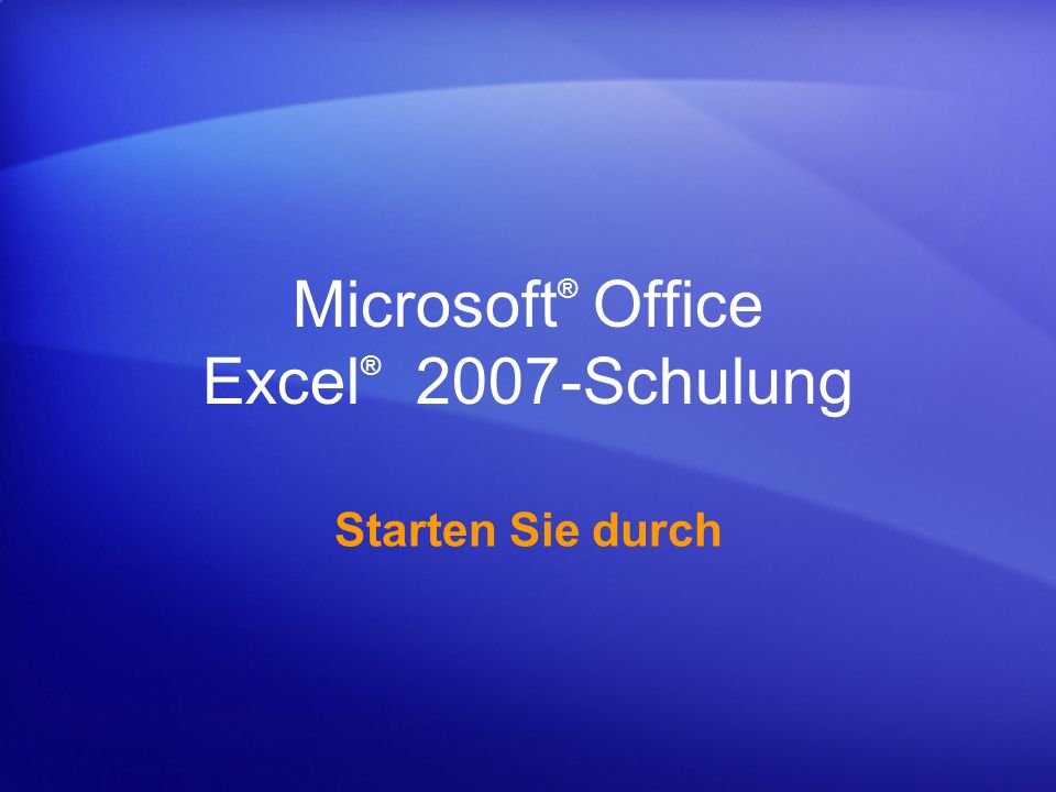 Microsoft® Office Excel® 2007-Schulung