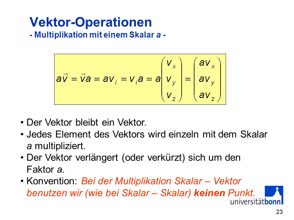 Vektor-Operationen - Multiplikation mit einem Skalar a -
