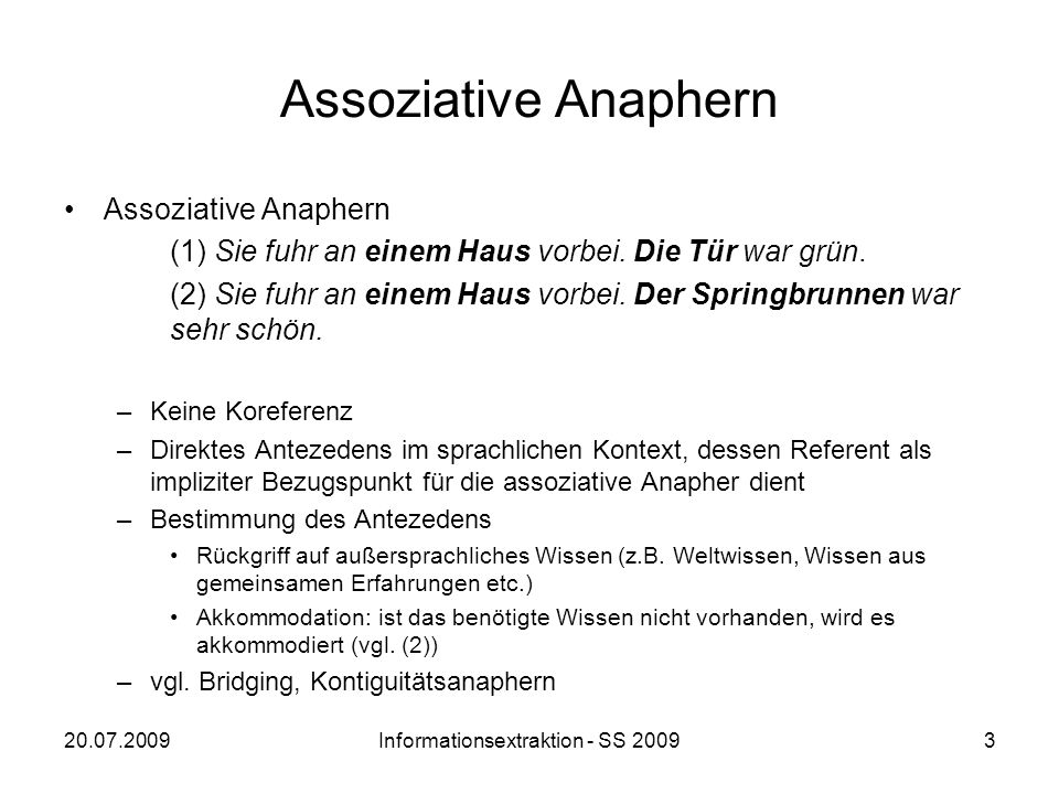 Informationsextraktion - SS 2009