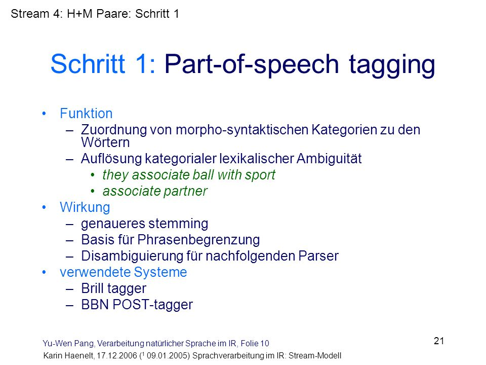 Schritt 1: Part-of-speech tagging