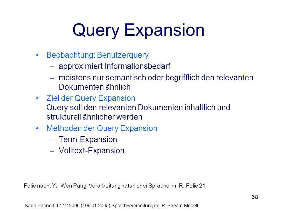 Query Expansion Beobachtung: Benutzerquery