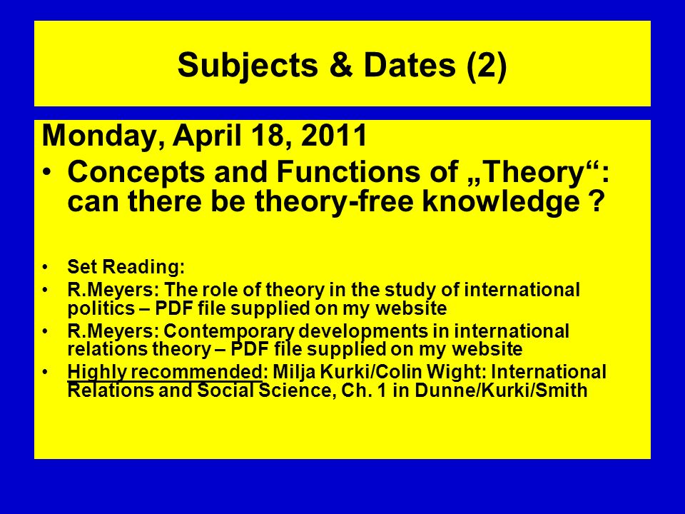 Subjects & Dates (2) Monday, April 18, 2011