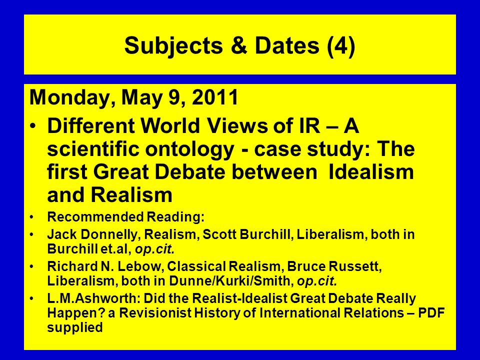 Subjects & Dates (4) Monday, May 9, 2011