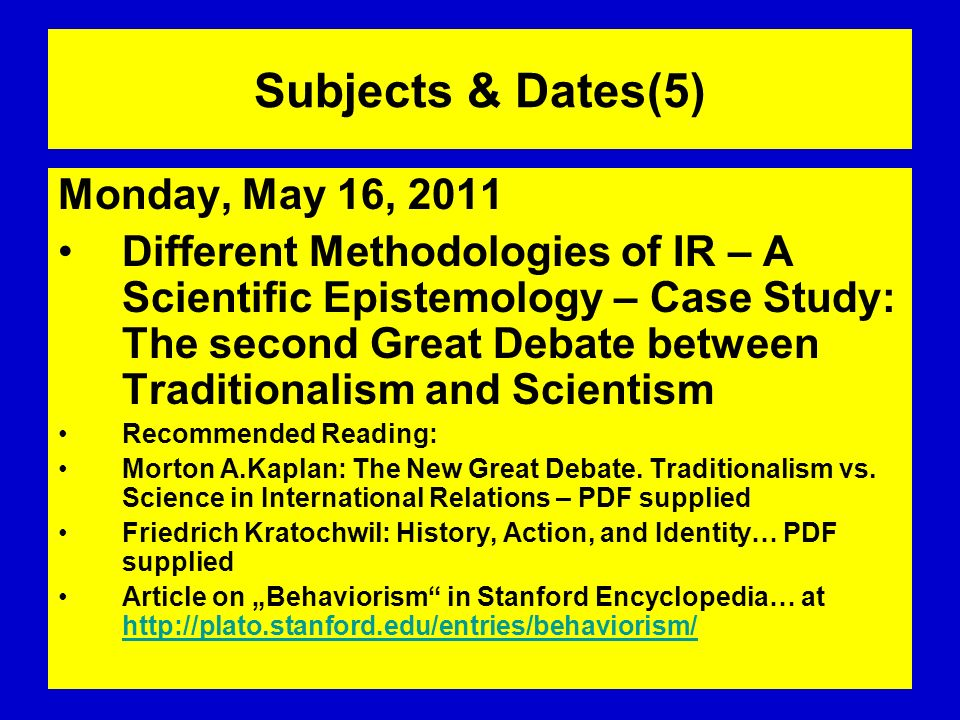 Subjects & Dates(5) Monday, May 16, 2011