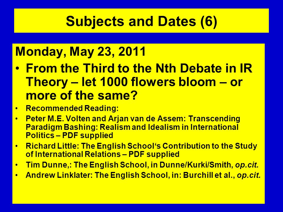 Subjects and Dates (6) Monday, May 23, 2011