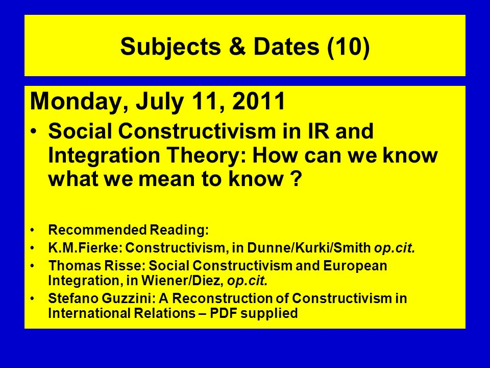 Subjects & Dates (10) Monday, July 11, 2011