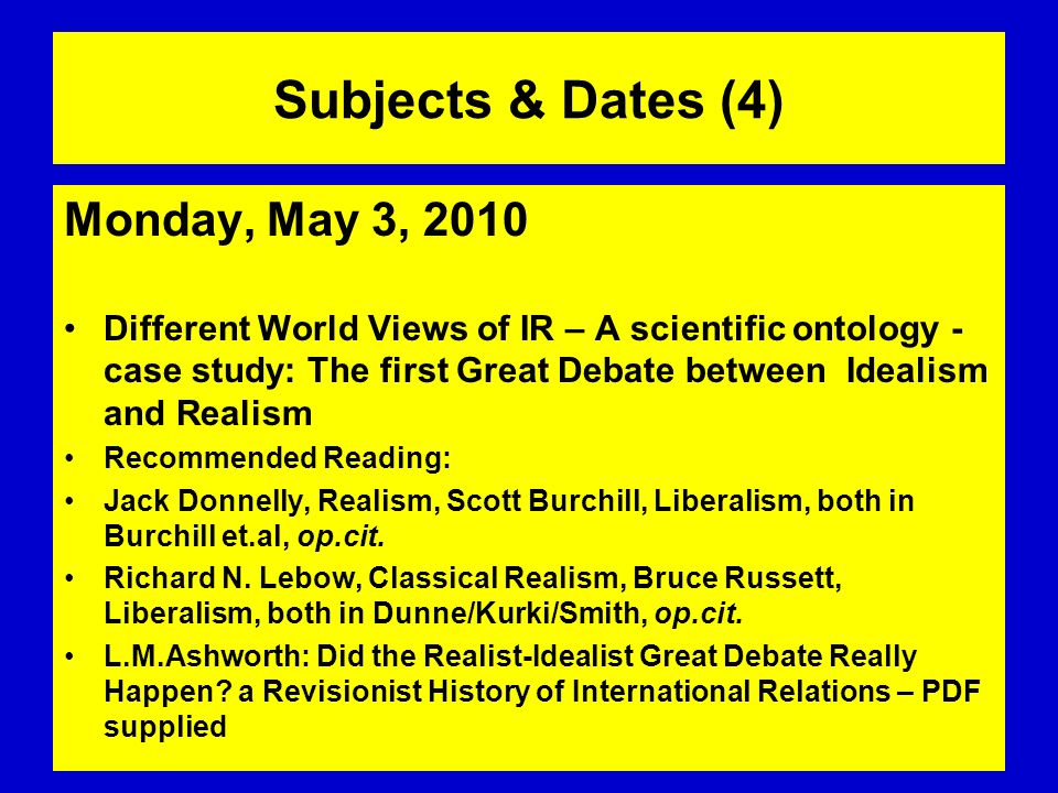 Subjects & Dates (4) Monday, May 3, 2010