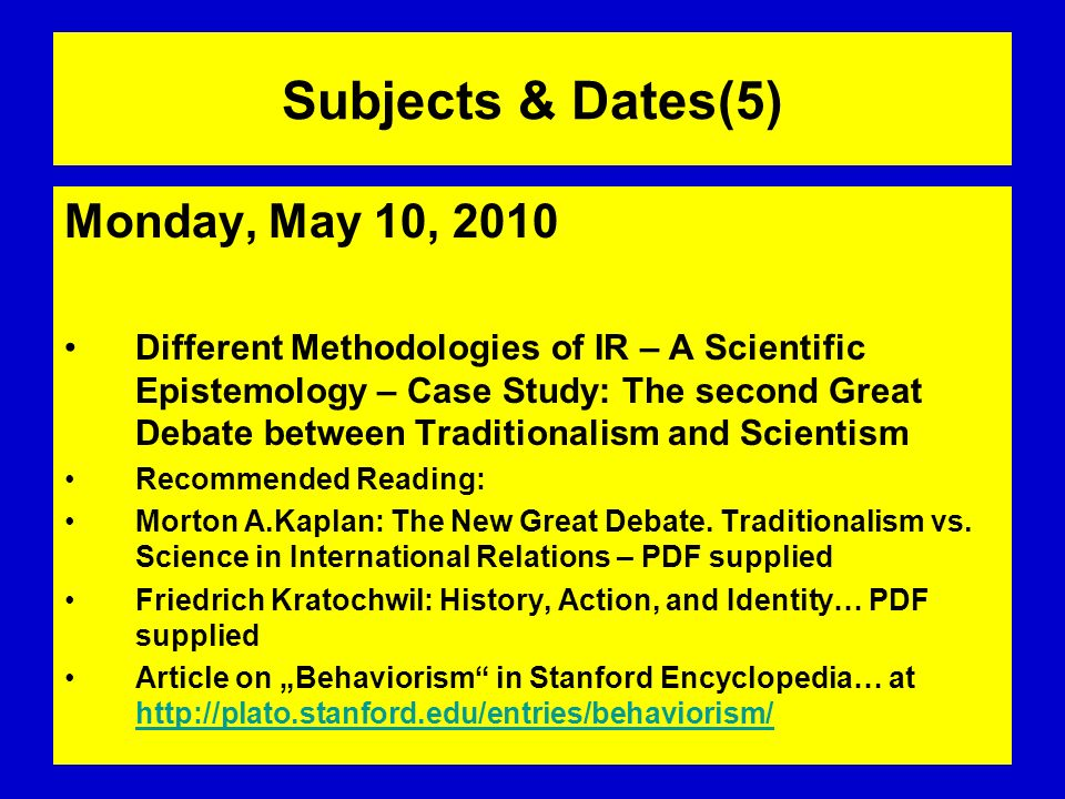 Subjects & Dates(5) Monday, May 10, 2010
