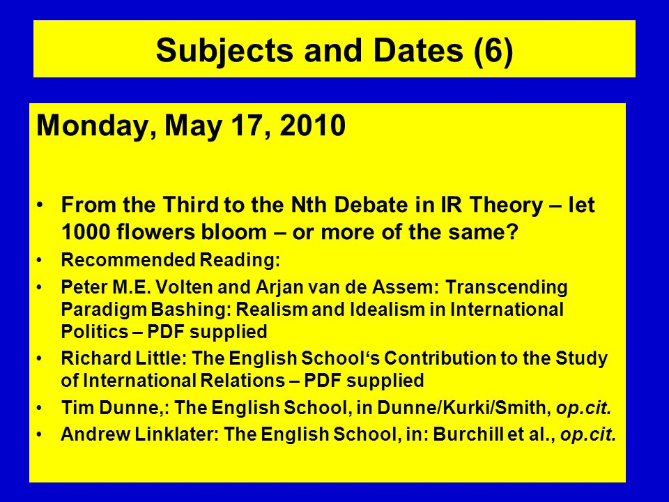 Subjects and Dates (6) Monday, May 17, 2010