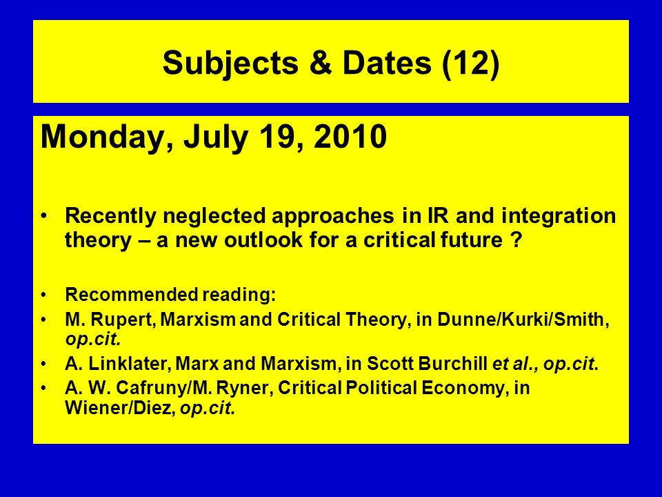 Subjects & Dates (12) Monday, July 19, 2010
