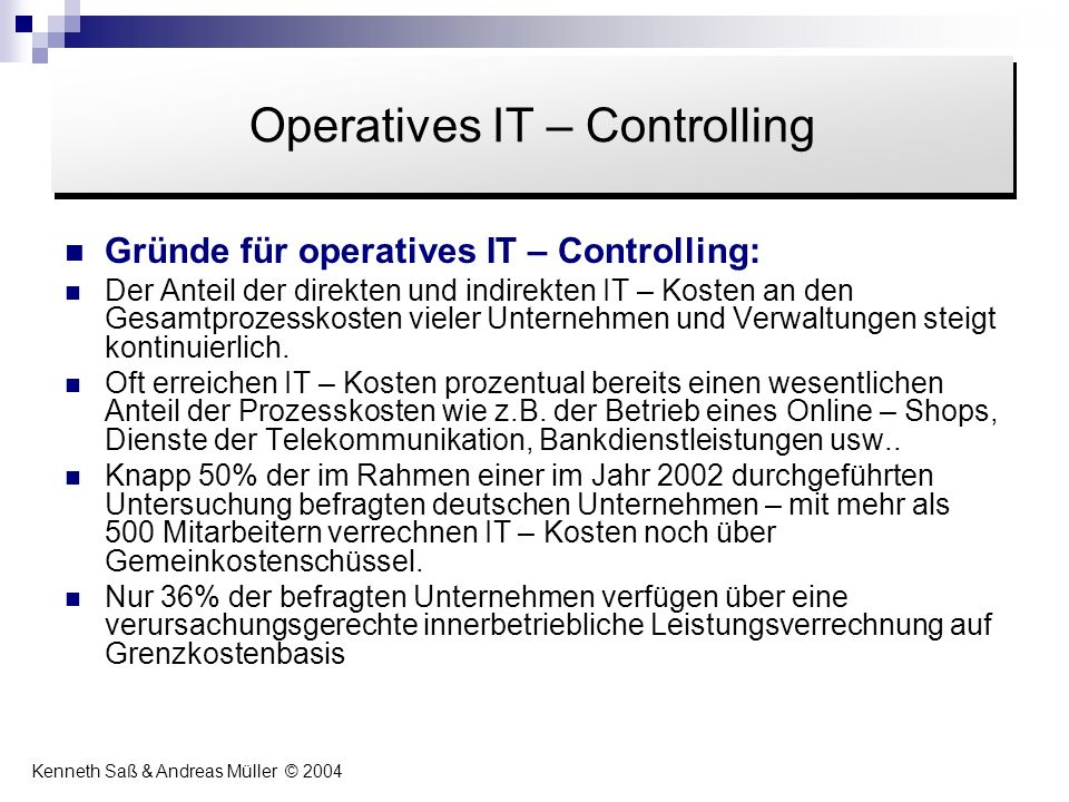 Operatives IT – Controlling