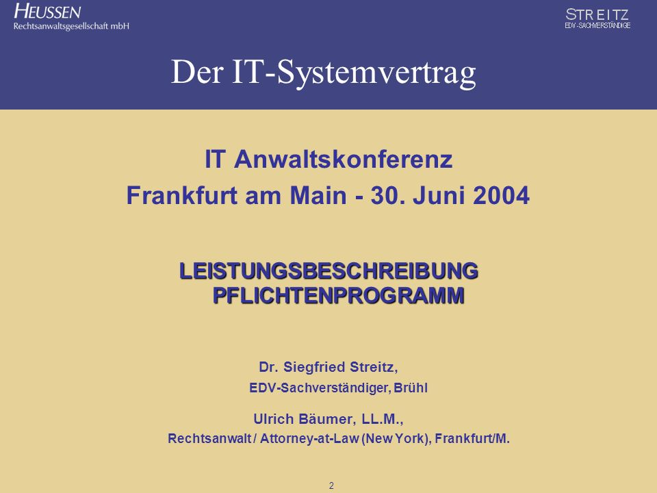 Der IT-Systemvertrag IT Anwaltskonferenz