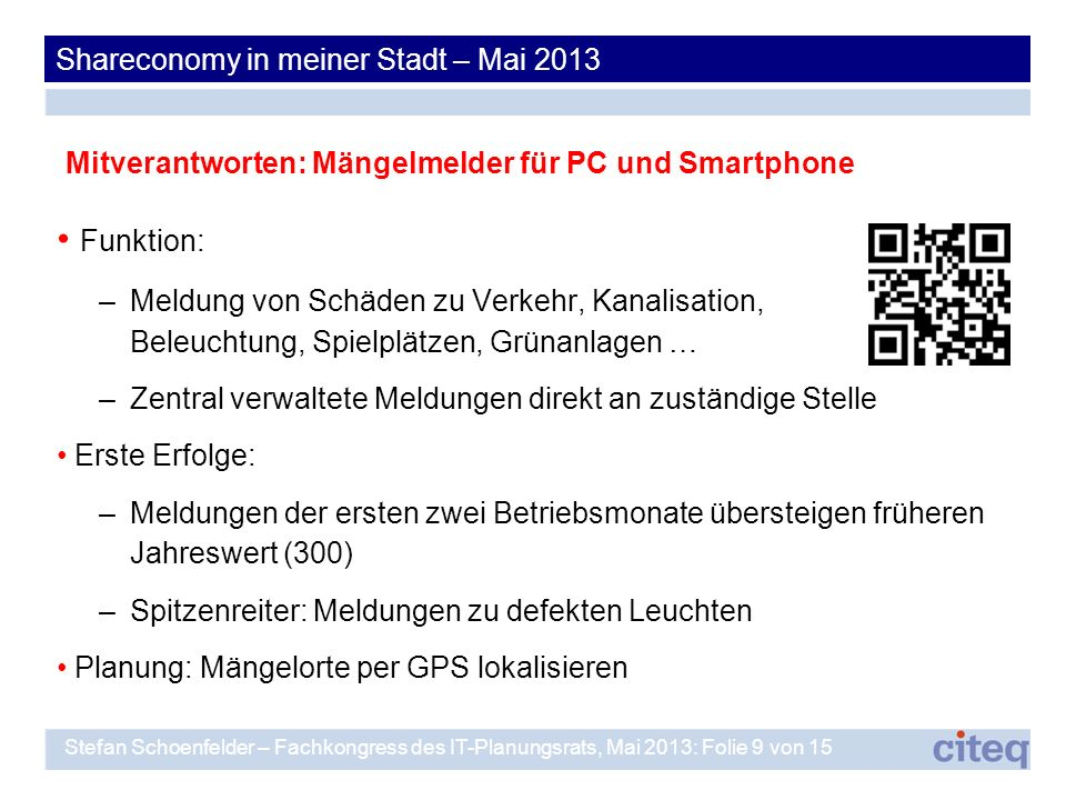Funktion: Shareconomy in meiner Stadt – Mai 2013