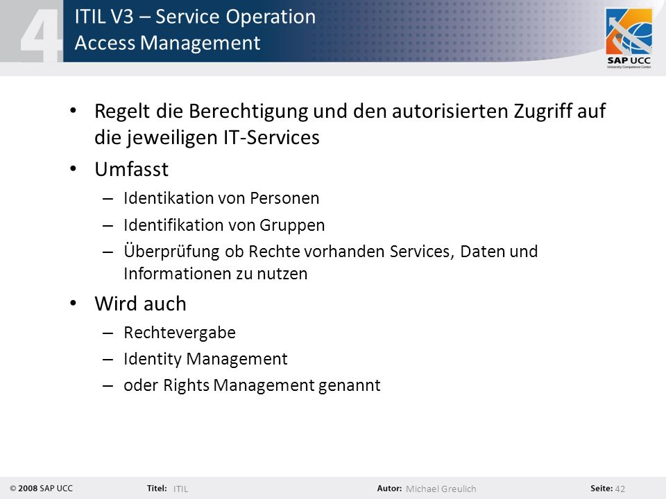 ITIL V3 – Service Operation Access Management