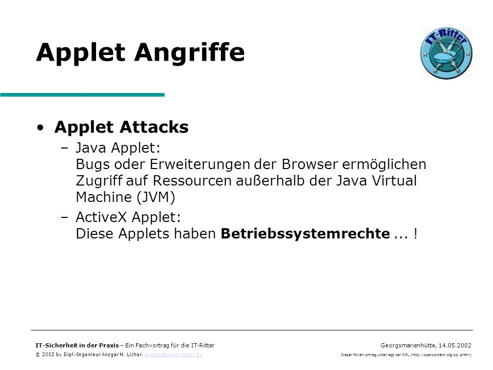 Applet Angriffe Applet Attacks