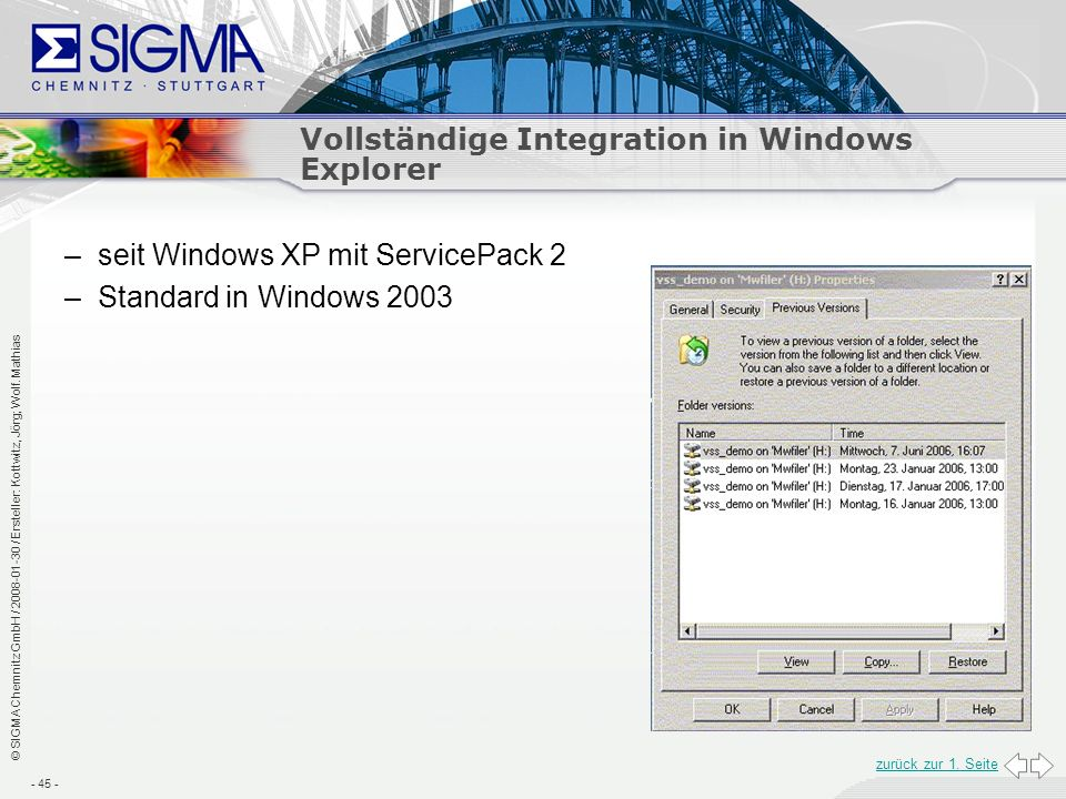 Vollständige Integration in Windows Explorer