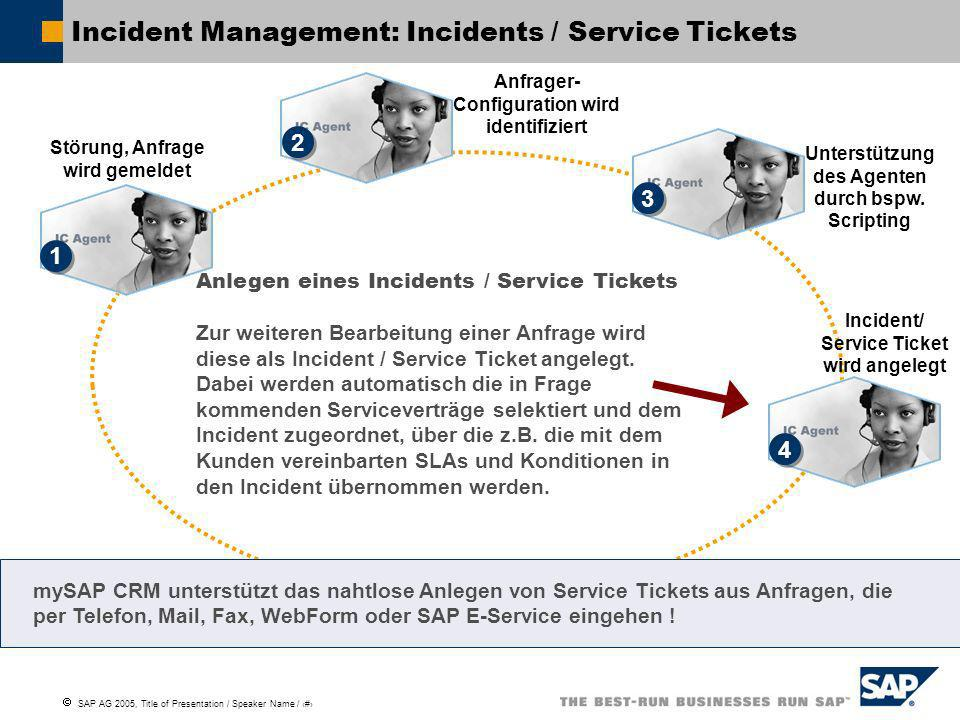 Incident Management: Incidents / Service Tickets