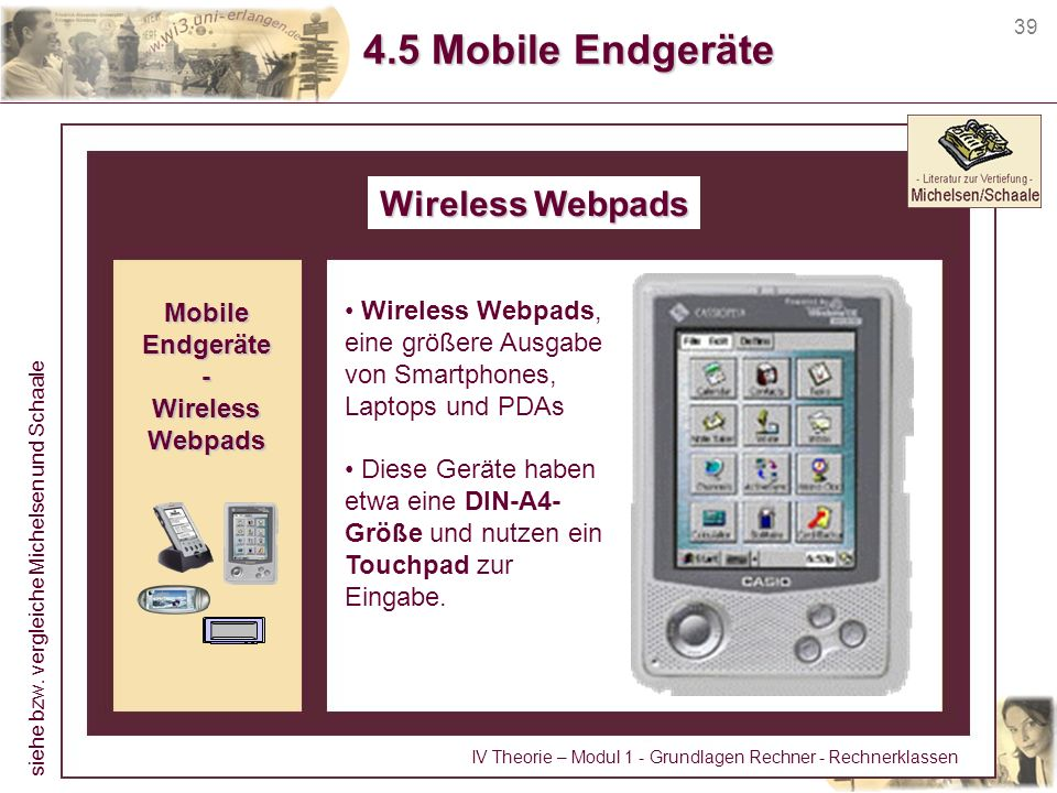 4.5 Mobile Endgeräte Wireless Webpads Mobile