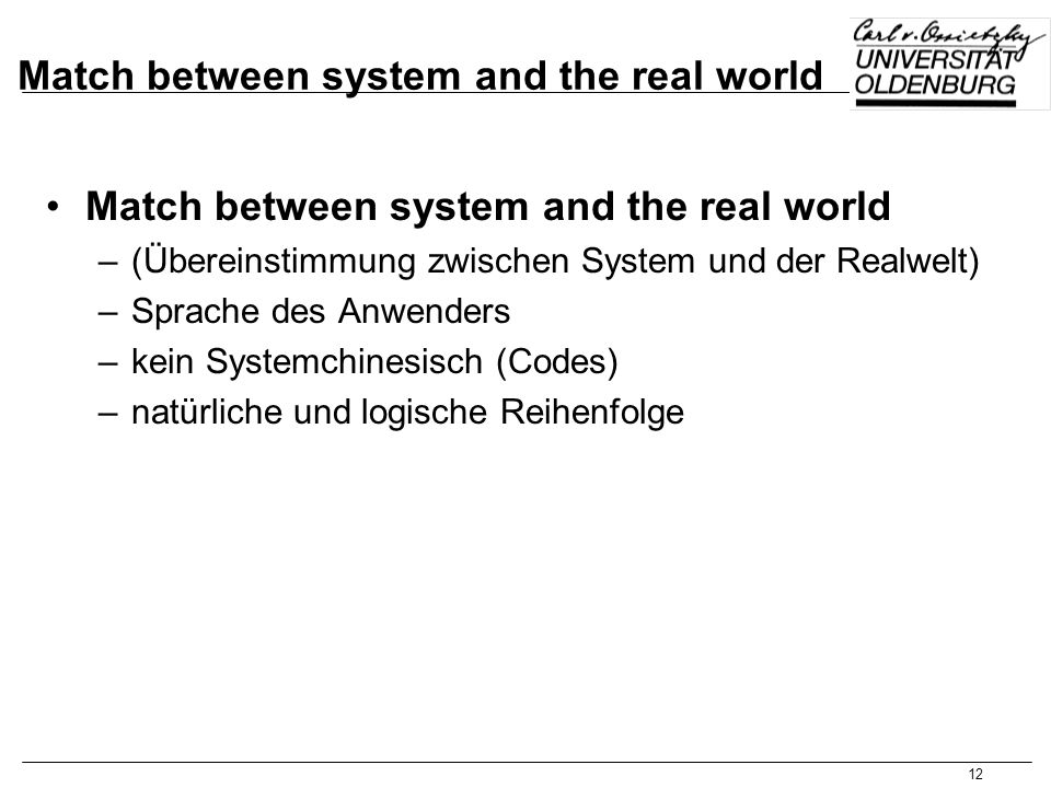 Match between system and the real world