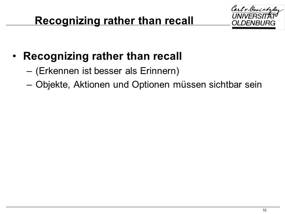 Recognizing rather than recall