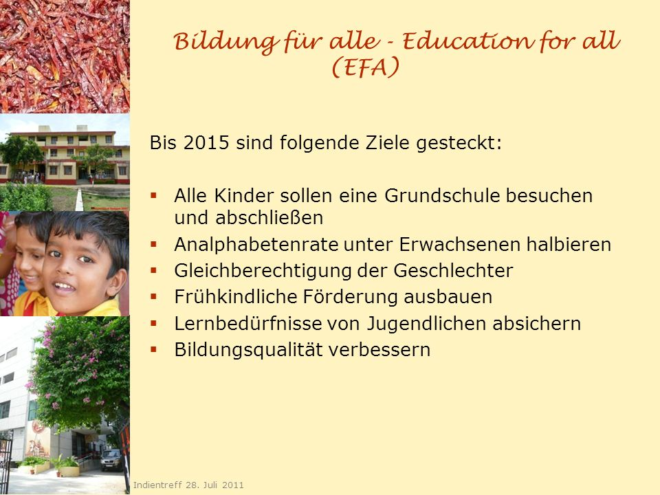 Bildung für alle - Education for all (EFA)