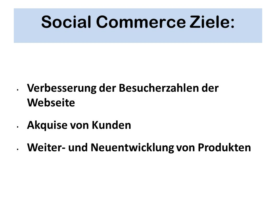 Social Commerce Ziele: