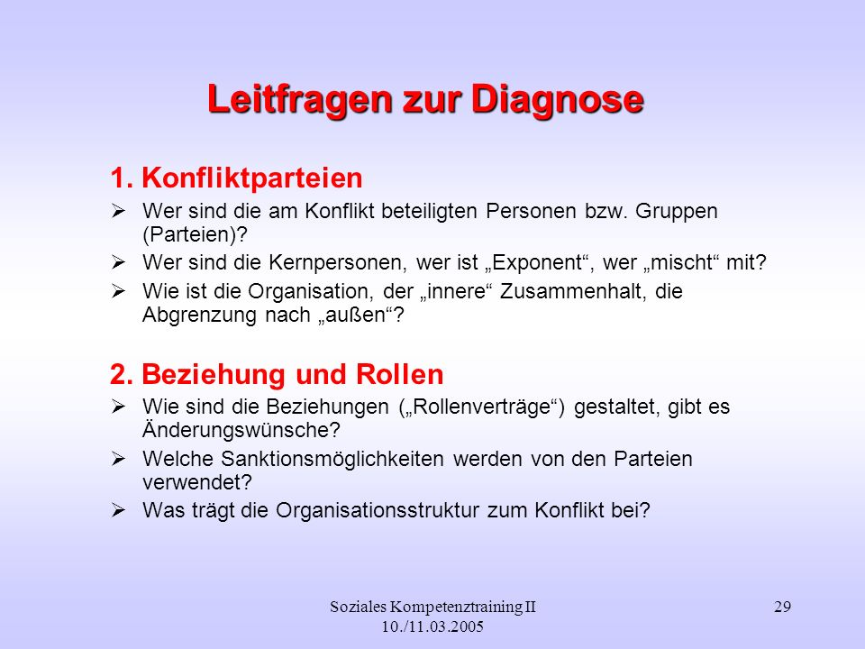 Leitfragen zur Diagnose